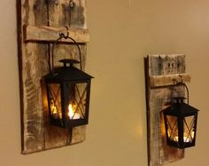 "Rustic wood candle holder with lantern 12"" x 5"" , wood sconce, Mini candle holder, hanging lantern price is for 1 Each or 1 Set"