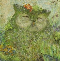 Whoooo doesn't love this gorgeous green owl painting?  (Artist unknown.)