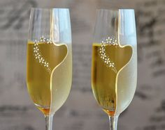 Wedding glasses Toasting flutes hand decorated by PolinikaGlass
