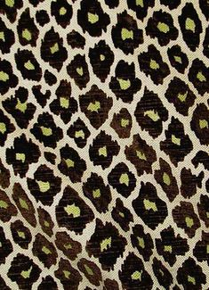 """Simba Chocolate.  Eco freindly leopard frinf with velvet accents. 15K dbl for durable multi purpose. 66%cot,9%ray,14%acr,11%lyl. 54"""" wide."""