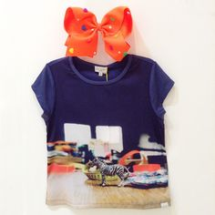 Girls' navy 'Heida' T-shirt with a 'Zebra' silky front panel!!! #colibribebe #newarrivals #tshirt #bow #girlsfashion