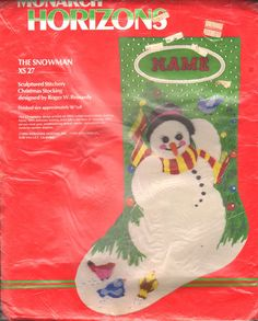 "VINTAGE MONARCH HORIZONS ""THE SNOWMAN"" STOCKING STITCHERY CREWEL EMBROIDERY KIT #MonarchHorizons"