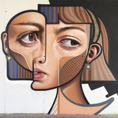 In his series of graffiti portraits, artist Belin blends cubism with hyperrealism. Each piece offers a contemporary spin on the work of Pablo Picasso. Miguel Angel, Pablo Picasso, L'art Du Portrait, Abstract Portrait, Portraits, Art Mural, Mural Painting, Paintings, Graffiti Art