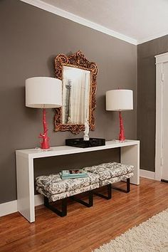 Entry way table with adorable benches underneath? Yes please.
