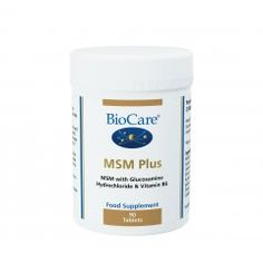 MSM (Methyl Sulphonyl Methane). MSM Plus combines MSM, glucosamine hydrochloride and vitamin B6 in a tablet form suitable for vegetarians and vegans.