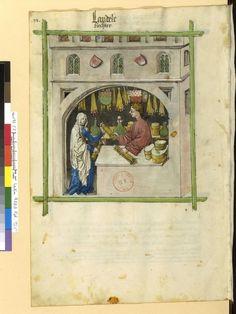 Kerzenhändler Tacuinum sanitatis, Elsaß 15. Jhdt., BNF Cod. Latin 9333