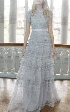 Darcy Embellished Ruffle Gown by NEEDLE & THREAD for Preorder on Moda Operandi