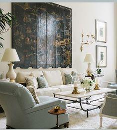 My New Years resolution: design more beautiful spaces like this one. #phoebehowarddecorator #coromandelscreen #cowtanandtout #parcmonceau #mrandmrshowardforsherrillfurniture