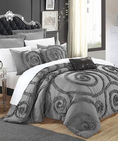 Loving this Gray Rosalia Ruffled Comforter Set on #zulily! #zulilyfinds