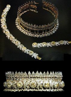 Diamond and citrine tiara of Queen Sirkit of Thailand (detachable as two bracelets)