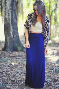The Nova Maxi Skirt: Navy Blue | Hope's