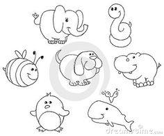 Doodles Of Animal Cartoon Drawn By Little Girl, Illustration Vec ...