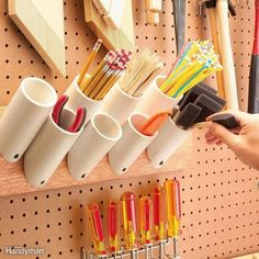 Storage Pockets for Skinny Things - Saw off short pieces of 1-1/2-, 2- or 3-in. PVC plumbing pipe with 45-degree angles on one end. Screw them to a board to hold paint brushes, pencils, st ..