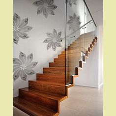 Kim Myles' new wall stencils + love staircase & combo of natural wood + graphic stencil
