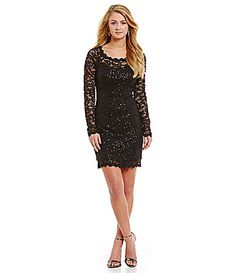 595e3cd0098 Sequin Hearts Illusion Long-Sleeve Scalloped Sequin Lace Sheath Dress