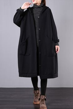 Type: Sweatshirt Waist type: Loose Pattern: Solid Material: Cotton Season: Winter, Autumn Color: Coffee, Black Size: One Size Shoulder Sleeve, Coats For Women, Hoods, Your Style, Duster Coat, Windbreaker, Normcore, Velvet, Medium