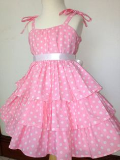 Mariposa ruffle Pink dress in white polka dot prints. Pinned by Cindy Vermeulen. Please check out my other 'sexy' boards.