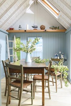 summer house - dining room tour the entire home Summer House Interiors, Cottage Interiors, Cottage Homes, Cottages By The Sea, Beach Cottages, Shed Interior, Interior Design, Maison Transportable, Estilo Cottage
