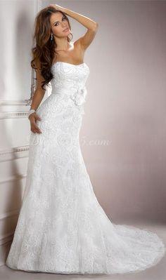 Modern Court Train Crystals Lace Sleeveless Wedding Dress