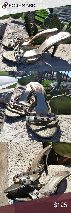 🆕🆙HalleBob Gorgeous summer mules Beautiful slide mules for your summer fun by  HalleBob. Gold and cream colored, rhinestone accents.  Ask questions.. Halle Bob Shoes Sandals