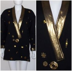 MINT VinTaGe 80s CHIARA Black Gold ULTRA SOFT COTTON JACKET Beads Sequins LARGE #Chiara #Casual