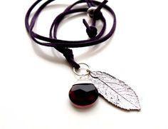 Amethyst Leather Necklace February Birthstone by EverywhereUR, $24.00