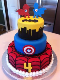 super hero cake spiderman captain america batman