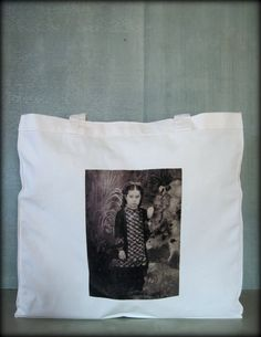 Tintype Tote  Girl With Ringlets And Bow by ScarlettSlipper