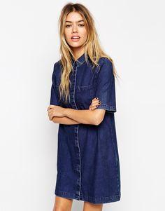 Image 1 ofASOS Denim Shirt Dress with Patch Pocket