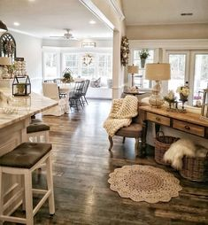 house ideas insane farmhouse living room decor and design ideas 24 Home Living Room, Living Room Designs, Kitchen Living, Cottage Style Living Room, Open Living Rooms, Ivory Living Room, Apartment Living, Open Living Room Kitchen Ideas, Living Room With Windows