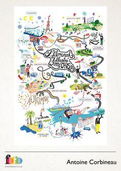 Antoine Corbineau: www.folioart.co.uk/illustration/folio/artists/illustrator/antoine-corbineau - Agency: www.folioart.co.uk - #illustration #art #digital #map Draw Map, Graphic Illustration, Graphic Art, Map Globe, Brochure Design Inspiration, Exhibition Poster, Map Design, Map Art, Illustrations Posters
