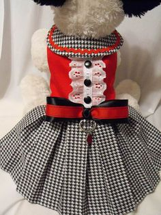 This little dress is made of cotton on top and flannel houndstooth for the skirt. Velcro closures at neck and chest that will adjust for Girl Dog Clothes, Yorkie Clothes, Small Dog Clothes, Pet Fashion, Animal Fashion, Dog Dresses, Girls Dresses, School Girl Dress, Dog Clothes Patterns