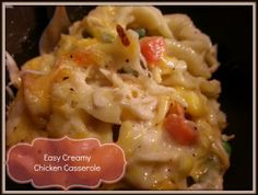 Easy Creamy Chicken Casserole--another to try with gluten free noodles.