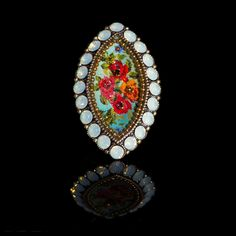 Michal Negrin Turquoise Vintage Rose & Green Opaline Crystal Ring (15778 4) | Alexandra May