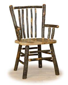 Log Dining Chair, Natural Hickory, Log Furniture, Cabin Furniture