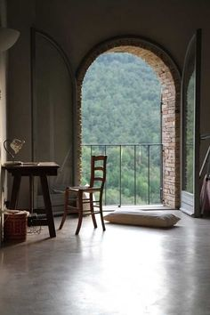 """birdcagewalk: """" valscrapbook:design-related: A room with a view of Umbria. A lovingly renovated Castellaro, Italy, home. Future House, My House, Rue Verte, House With Balcony, Window View, Balcony Window, Interior Exterior, Interior Design, Interior Modern"""