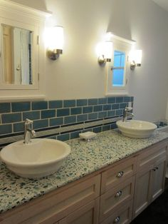 Curava Savaii Recycled Glass Countertop With Eased Edge Profile Bathrooms Pinterest