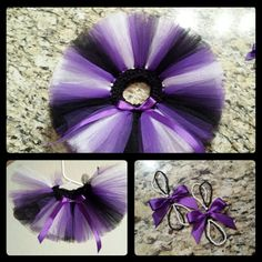 Infant tutu with matching barefoot sandals....purple, black and white