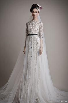 ersa atelier bridal 2015 kahina black colored lace wedding dress sleeves tulle overskirt