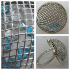 Sterling Silver ring with fine silver mesh cubic zirconias made by ZaZing www.etsy.com/shop/zazing