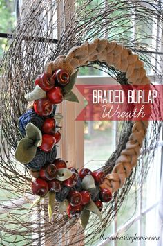 Braided Burlap, Denim and Apples Wreath - The Endearing Home