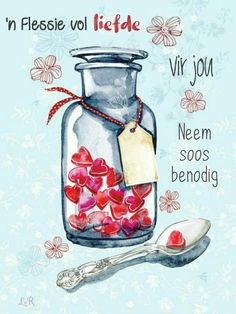 "This lovely card is called ""Spoonful of Love"" - what better medicine could there be? It would make a beautiful Valentine card, but also a lovely Get Well Soon Card for a loved one. Big Bisous, I Love Heart, My Love, Jar Of Hearts, Red Hearts, Sweet Hearts, Get Well Wishes, Get Well Cards, Afrikaans"