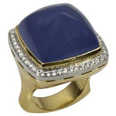Chalcedony Sugarloaf Diamond Gold Ring $8,900 Coach House