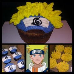 Naruto themed ColossalBaby in vanilla and cupcakes in strawberry shortcake and oreo