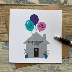 Welcome Home Cards, New Home Cards, Pretty Cards, Cute Cards, Diy Cards, Birthday Card Drawing, Birthday Cards, Congratulations New Home, Housewarming Card