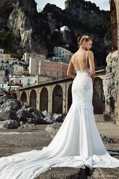 michal medina spring 2016 bridal spagetti strap bustier bodice slim fit sheath wedding dress martina back