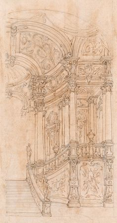 School of Bibiena family | Right Half of a Palace Hall with a Grand Staircase | ca. 1770 | The Morgan Library & Museum