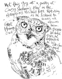 Danny Gregory - The rough marks create texture in the image and the use of various angled lines emphasise the perspective. The combination of text and drawing is interesting, especially as the font is in keep with the style of the drawing, it also draws the eye down to the face of the animal, almost gazing into its eyes!