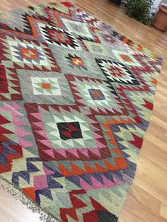 Unique Flat Woven Vintage Turkish Kilim RugPink by THEOUSHAKSHOP