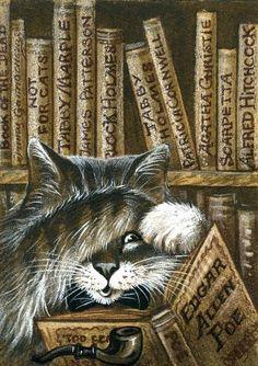 Irina Garmashova-Cawton - Artiste Peintre Animalier - Miniatures ACEO - Chat menant l'enquête